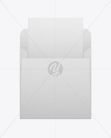 Opened Paper Envelope W/ Paper Mockup
