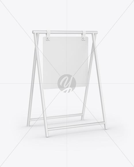 Merchant Sign Mockup - Half Side View