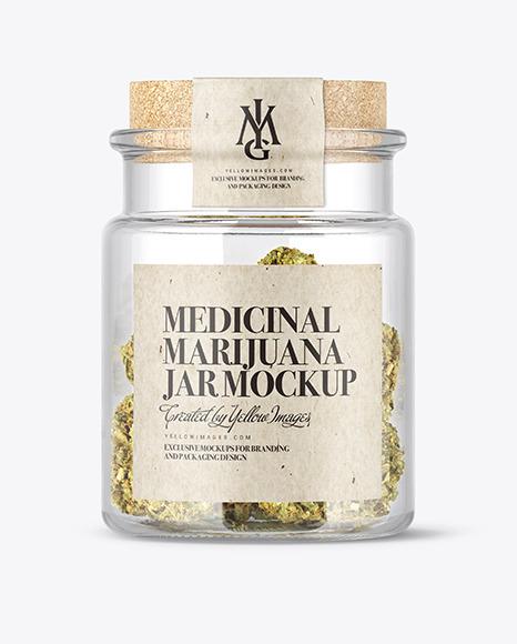 Download Medicinal Marijuana Jar PSD Mockup