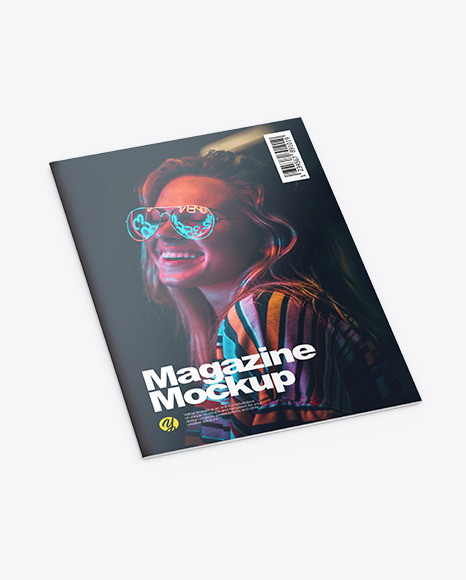 Download Glossy Magazine Half Side View PSD Mockup