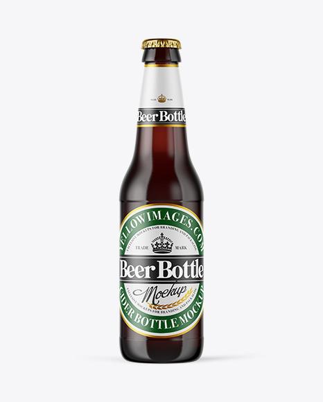 Download Dark Amber Glass Beer Bottle PSD Mockup