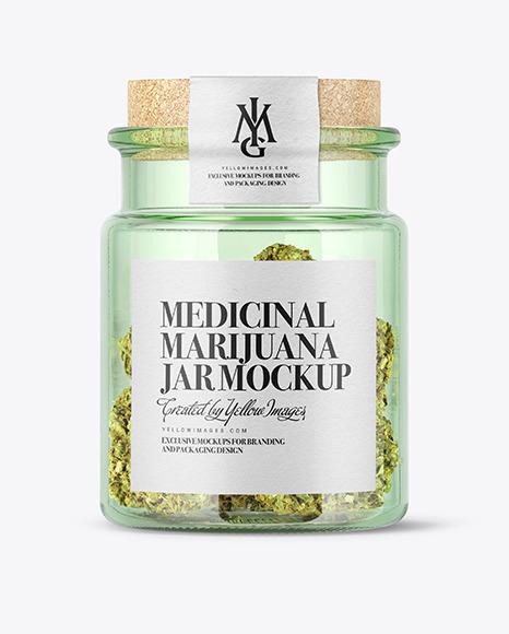 Download Medicinal Marijuana in Green Glass Jar PSD Mockup