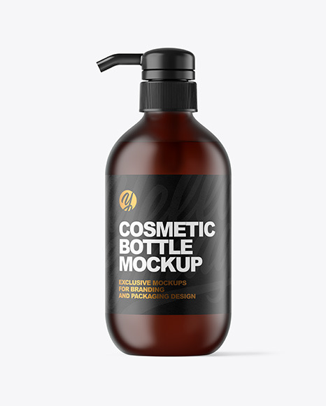 Download Frosted Amber Cosmetic Bottle with Pump PSD Mockup