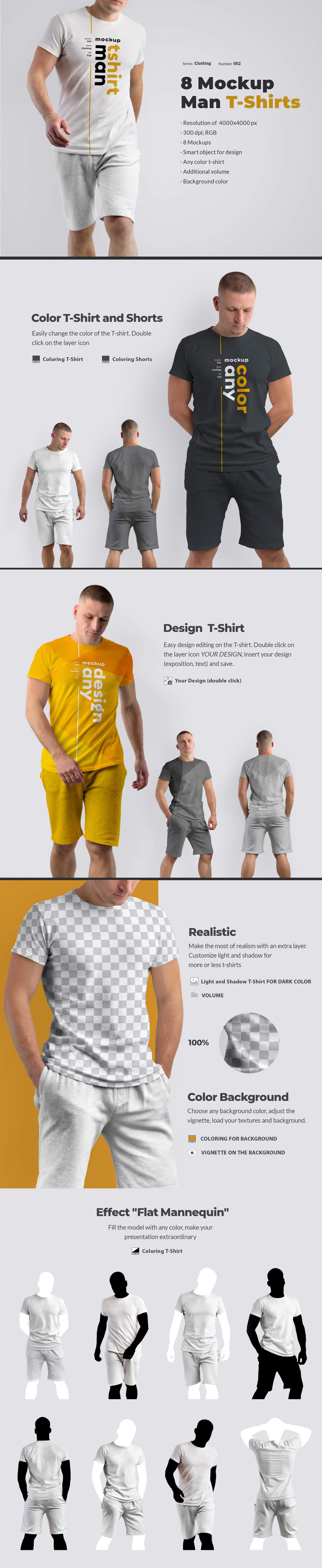 Download 8 Mockups T Shirts On The Man In Apparel Mockups On Yellow Images Creative Store PSD Mockup Templates
