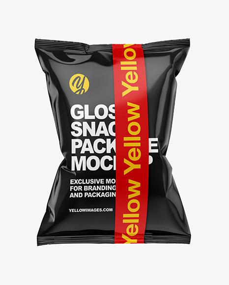 Download Glossy Snack Bag w Tape PSD Mockup