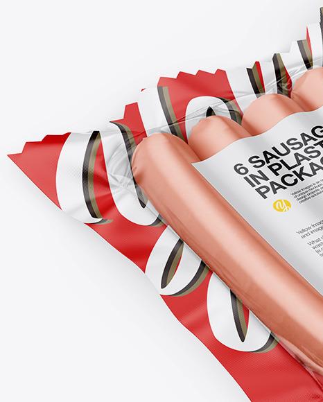 6 Sausages Pack Mockup - Half Side View