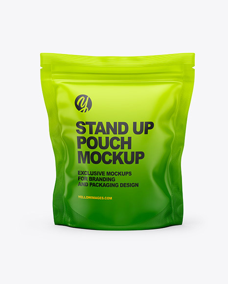 Download Matte Stand Up Pouch Bag PSD Mockup