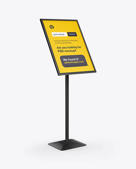 Download Floor Sign Holder Half Side View PSD Mockup