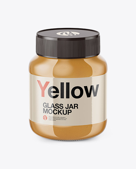 Download Glass Jar with Peanut Butter HighAngle Shot PSD Mockup