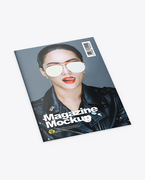 Download Matte Magazine Half Side View PSD Mockup