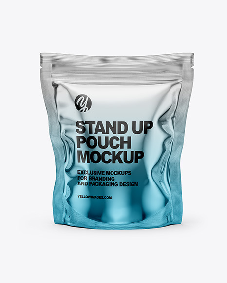 Download Metallic Stand Up Pouch Bag PSD Mockup