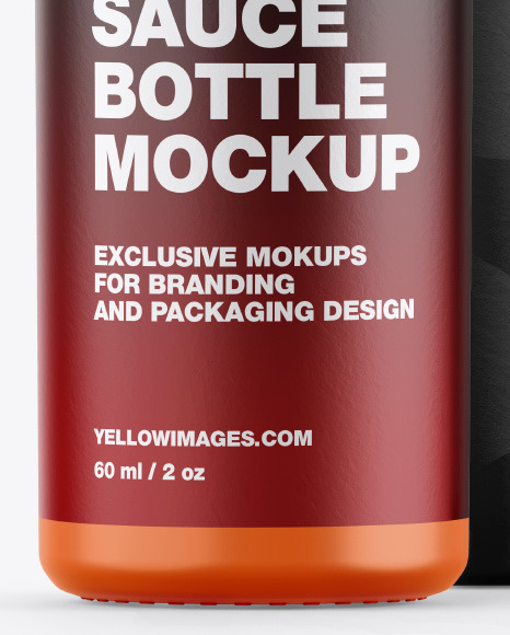 Glossy Sauce Bottle w/ Box Mockup