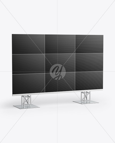LCD Video Wall Mockup - Half Side View