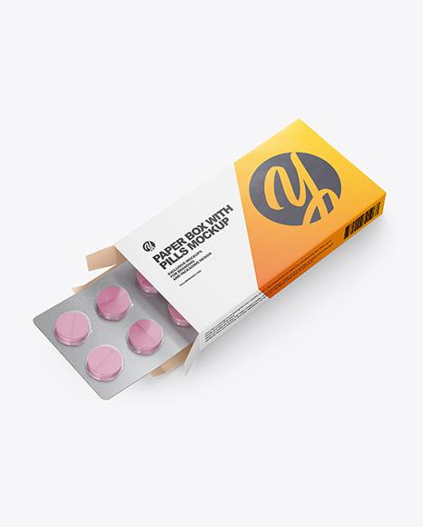 Download Opened Paper Box & Pills Halfside View 2020HighAngle Shot PSD Mockup