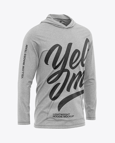 Download Mens Heather Lightweight Hoodie TShirt PSD Mockup