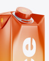1L Glossy Juice Package Mockup - Halfside View
