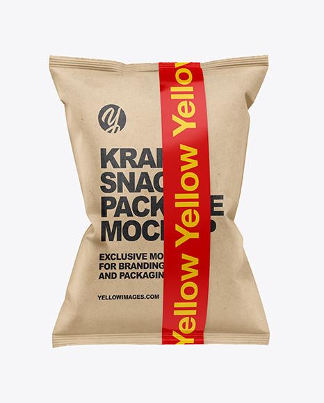 Download Kraft Snack Bag w Tape PSD Mockup