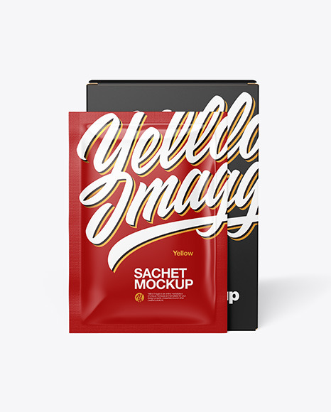 Download Paper Box with Glossy Sachet PSD Mockup