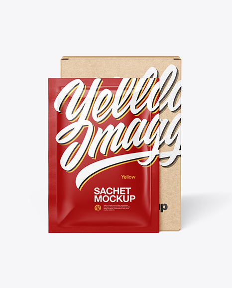 Download Kraft Box with Glossy Sachet PSD Mockup