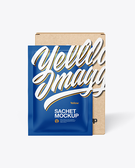 Download Kraft Box with Matte Sachet PSD Mockup