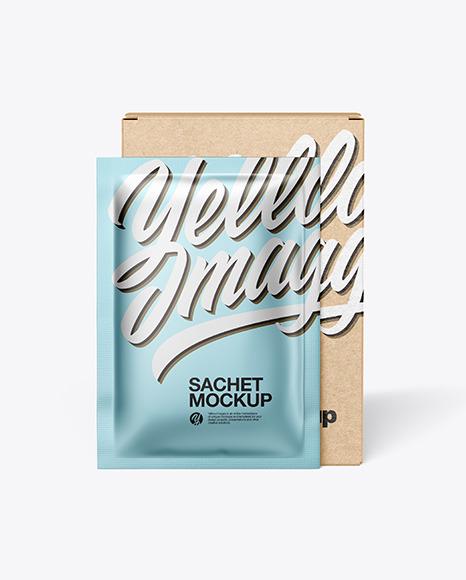 Download Kraft Paper Box with Metallic Sachet PSD Mockup