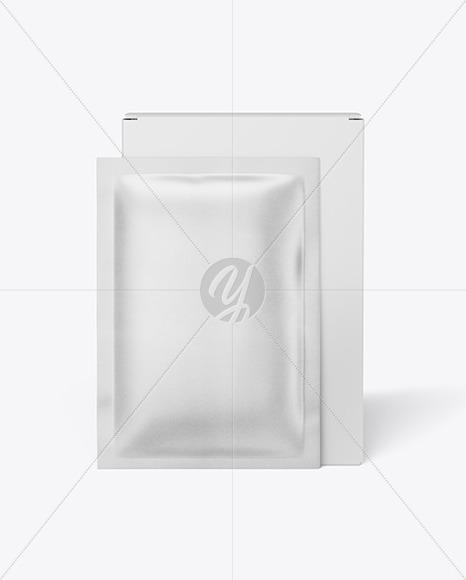 Paper Box with Kraft Sachet Mockup