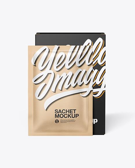 Download Paper Box with Kraft Sachet PSD Mockup