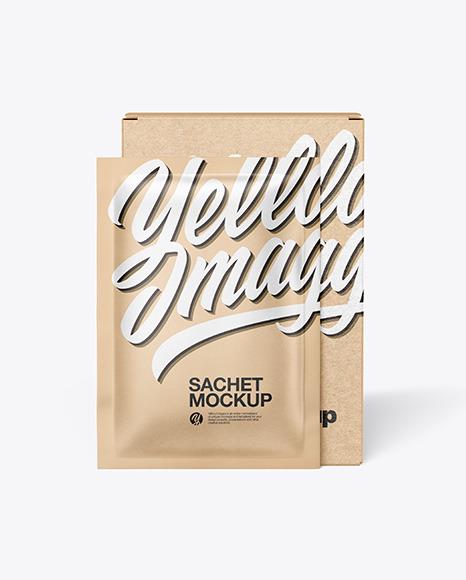 Download Kraft Paper Box with Kraft Sachet PSD Mockup