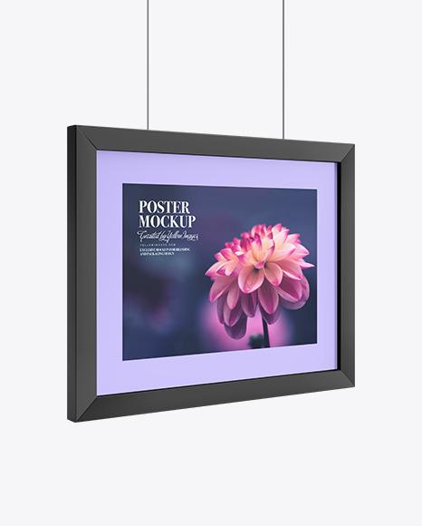Download Poster Frame Half Side View PSD Mockup