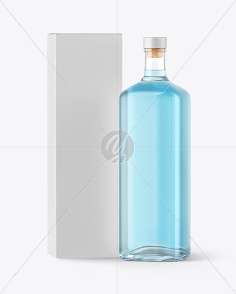 Gin Bottle With Box Mockup In Bottle Mockups On Yellow Images