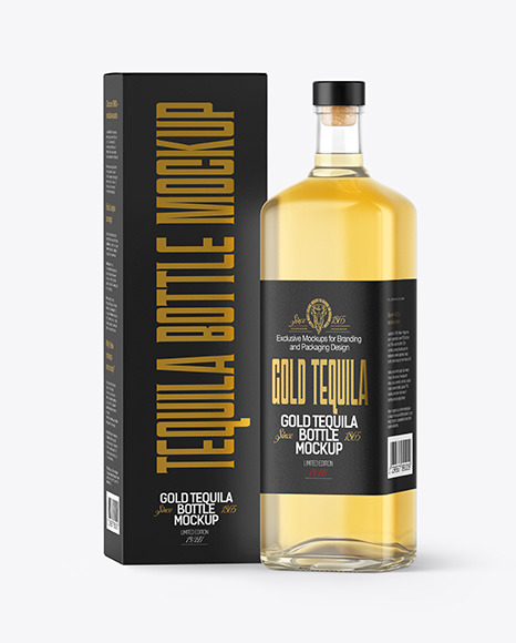 Download Golden Tequila Bottle with Box PSD Mockup