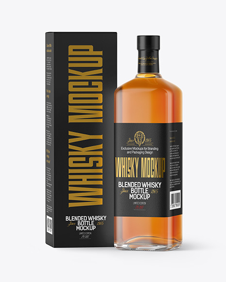 Download Whiskey Bottle with Box PSD Mockup