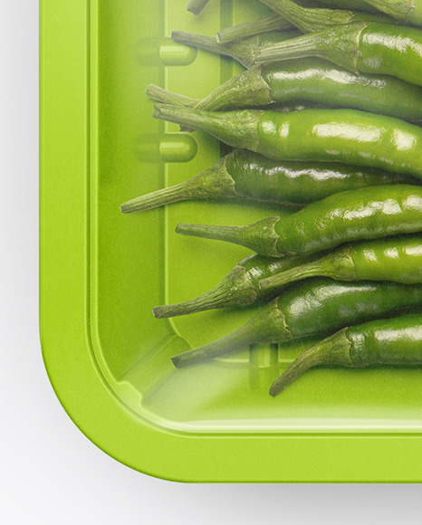 Plastic Tray With Green Chili Peppers Mockup