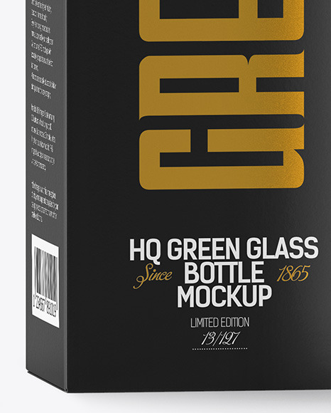Green Glass Bottle with Box Mockup