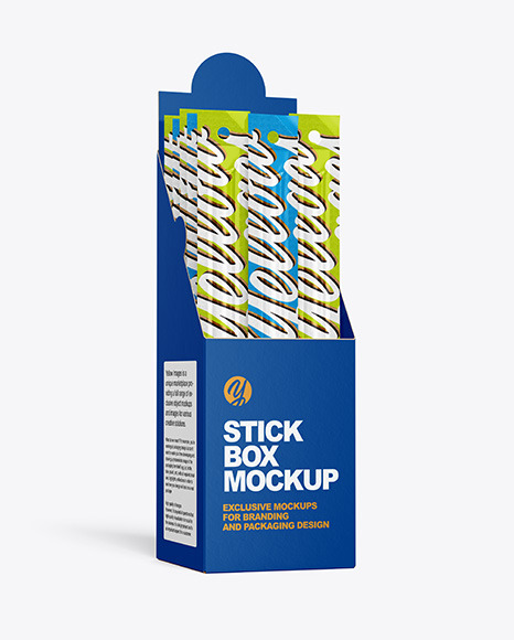 Download Paper Box with Snack Sticks PSD Mockup