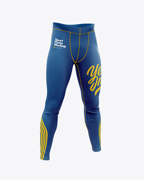 Compression Trousers Mockup – Half Side View