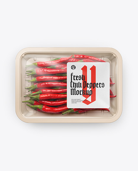 Plastic Tray With Red Chili Peppers Mockup