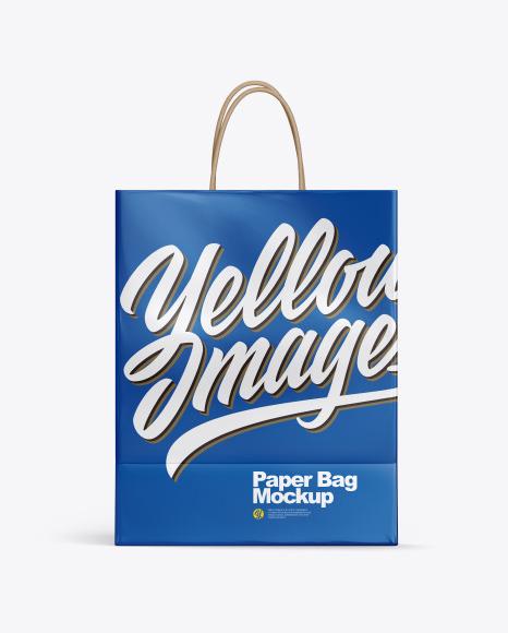 Download Glossy Shopping Bag w Rope Handles PSD Mockup