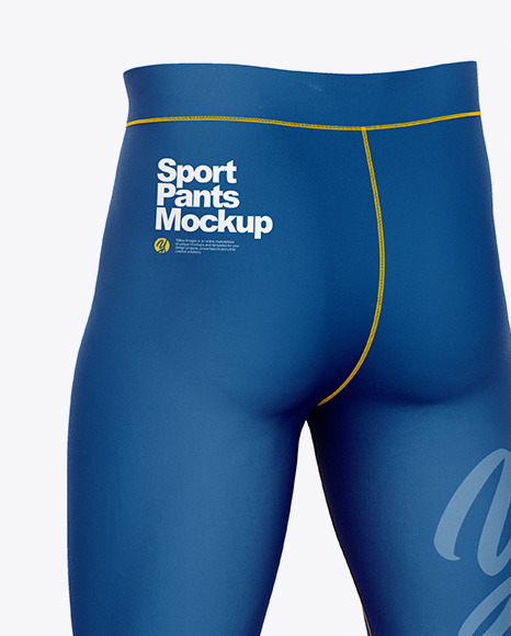 Compression Trousers Mockup – Back Half Side View