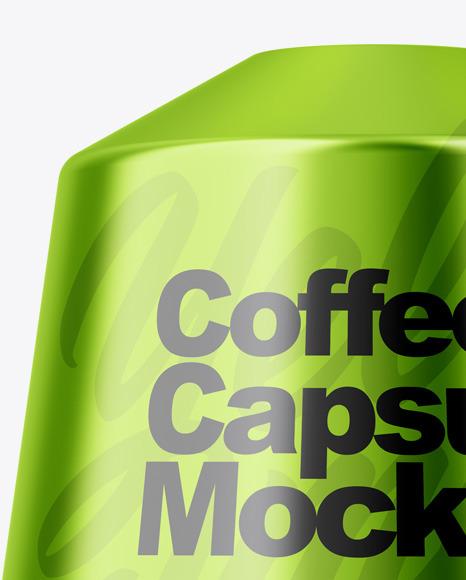 Glossy Metallic Coffee Capsule Mockup
