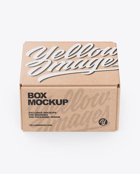Kraft Box Mockup In Box Mockups On Yellow Images Object Mockups