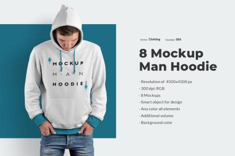 8 Men Hoodie Mockups In Apparel Mockups On Yellow Images