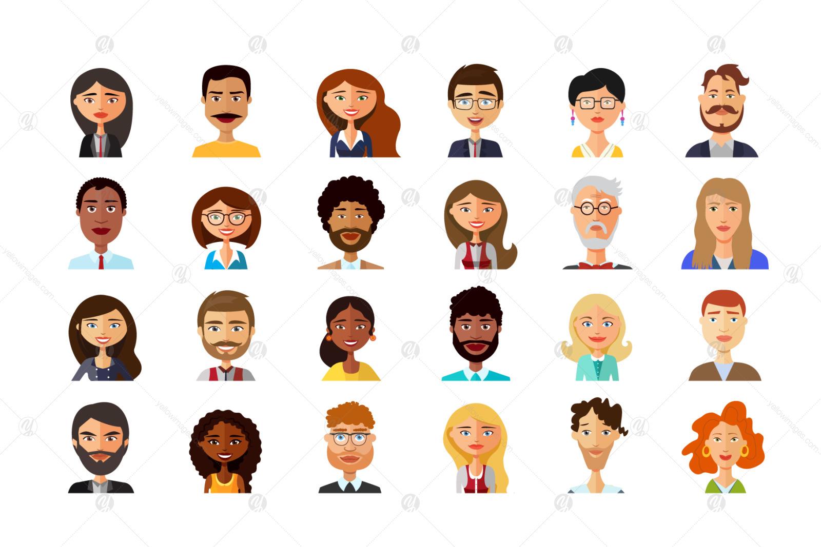 Vector avatars cartoon flat icon