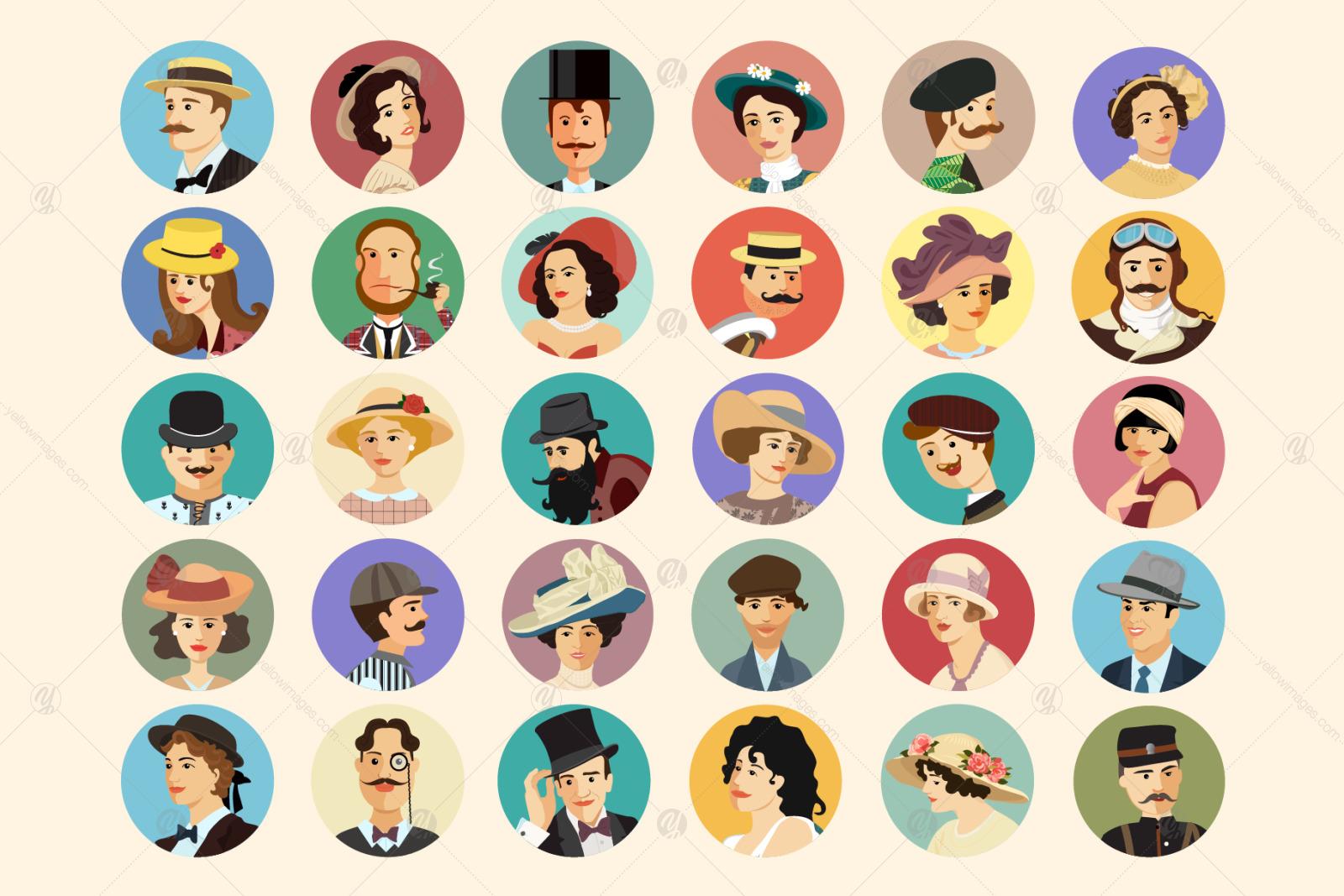 Avatars Retro people vector cartoon illustrations