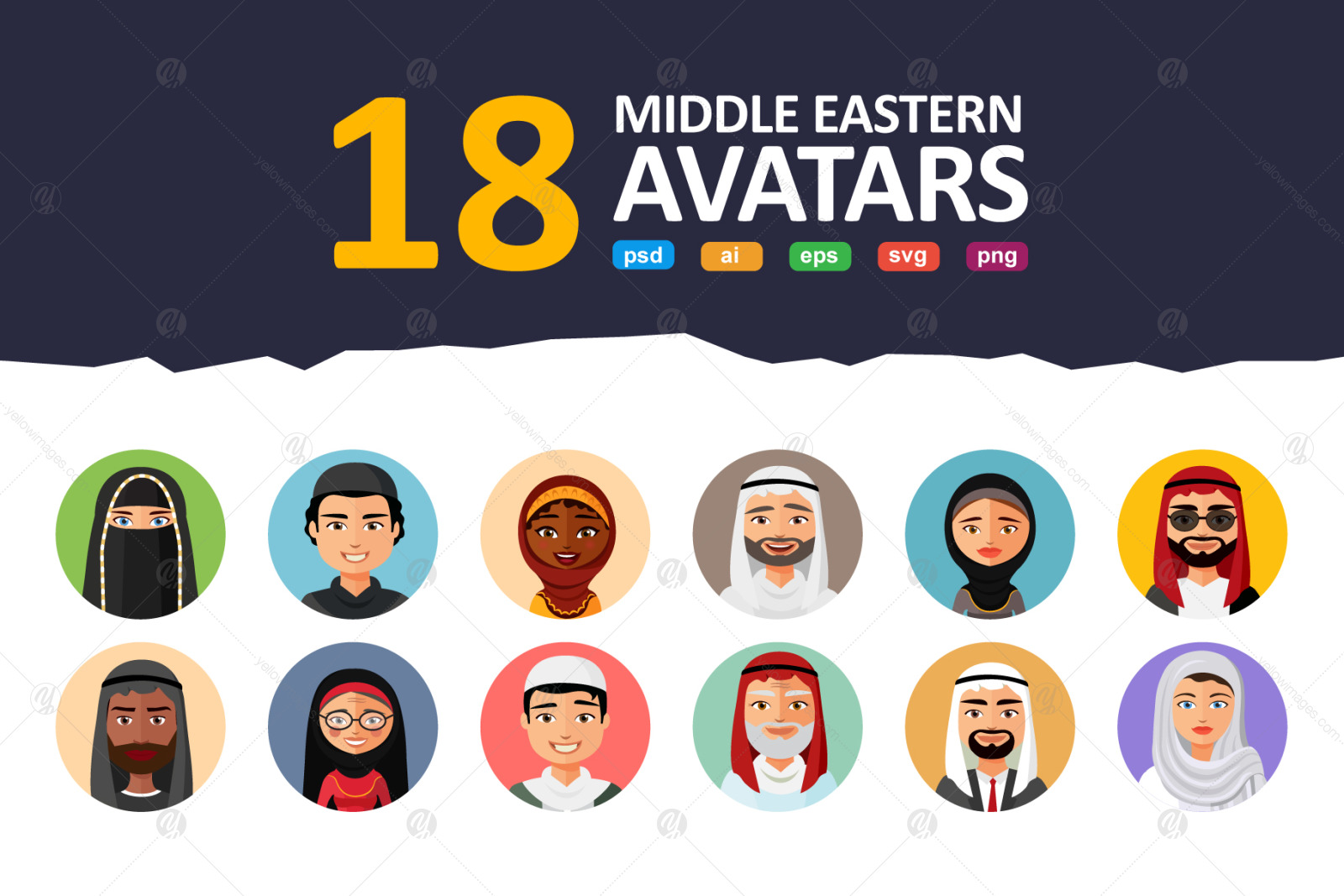 18 Flat & Middle Eastern Avatars