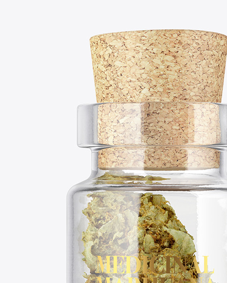 Glass Jar with Weed Bud Mockup