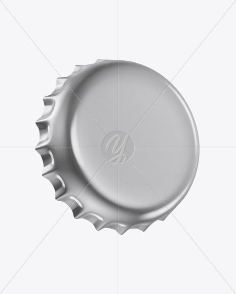 Glossy Metallic Bottle Cap Mockup