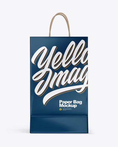 Glossy Shopping Bag w/ Rope Handles Mockup