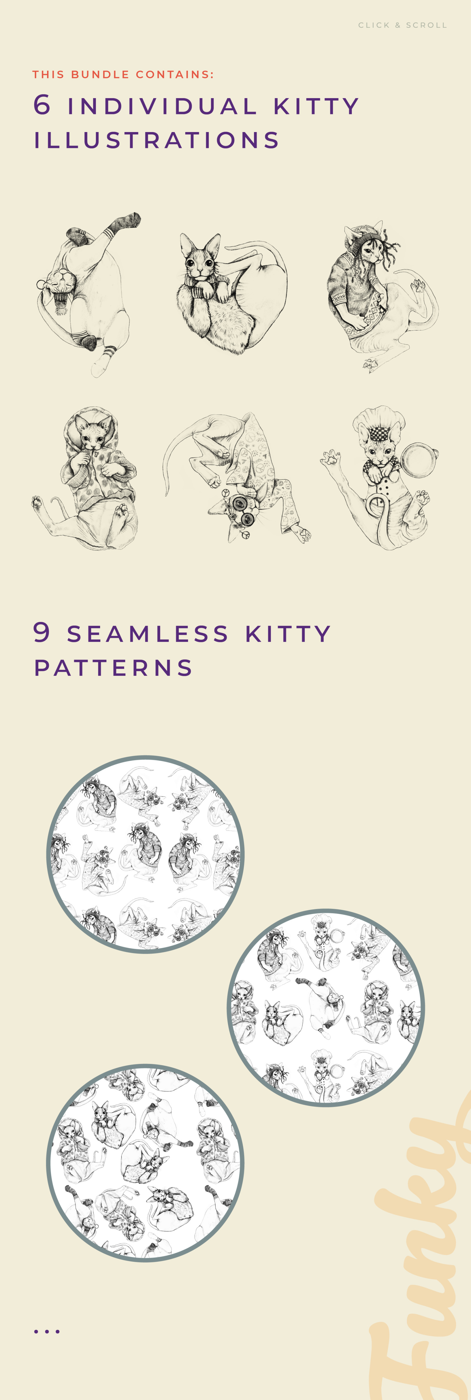 Funky Cat - Illustrations & Patterns