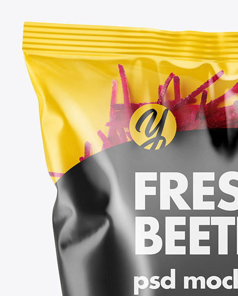Plastic Bag With Shredded Beetroot Mockup